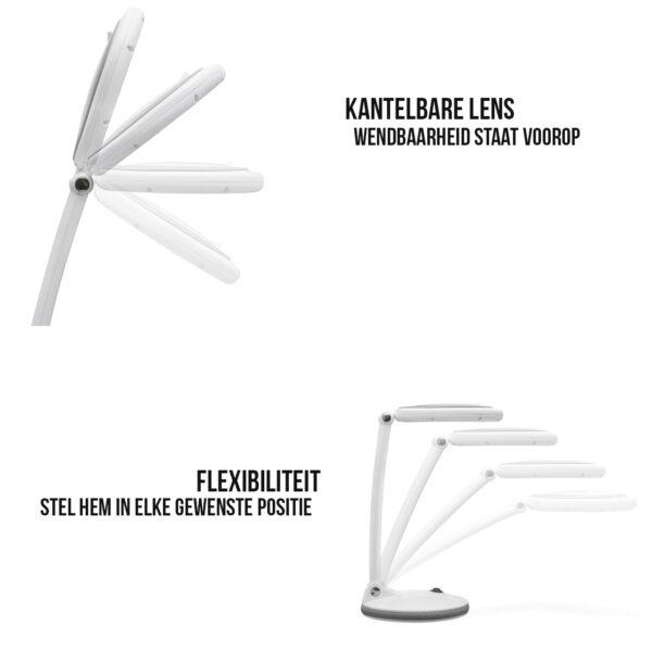 Loeplamp op Standaard (Netstroom) Vergrootglas met Verlichting Wit Loupe Lamp
