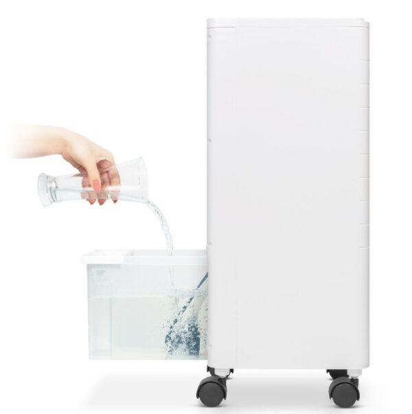 Luchtkoeler met koelelementen en waterreservoir