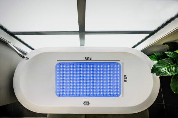 Antislip Douchemat Badmat 88x40CM HSXL Blauw met Zuignappen HomeShopXL