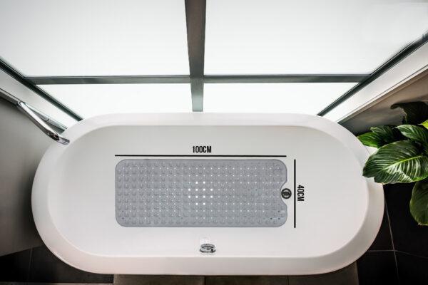 Antislip mat bad 100x40cm Grijs met zuignappen HSXL HomeShopXL