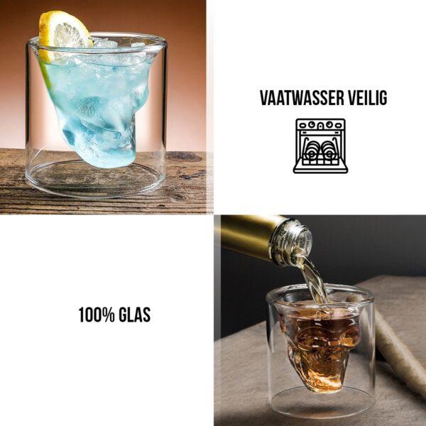 Schedel Glas SKULL doodshoofd glazen set van 2