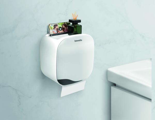 Toiletrolhouder met organizer grijs wit