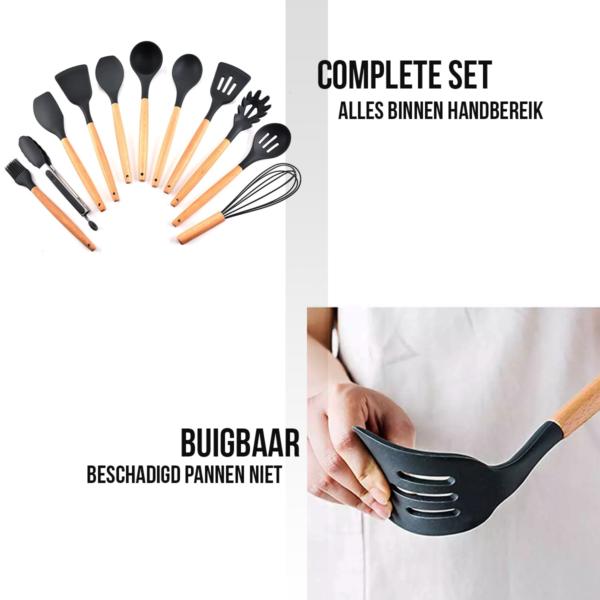 Keukengerei Kookgerei Hout Siliconen met Houder