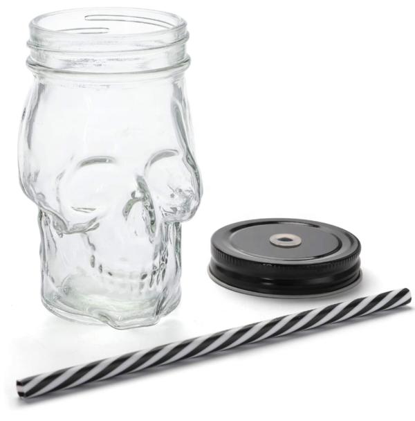 Drinkbeker met rietje skull doodshoofd Mason Jar