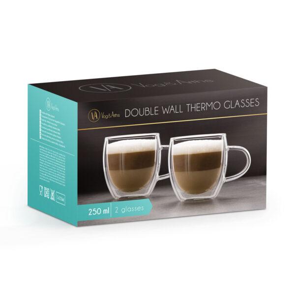 250ML Dubbelwandige thee of koffieglazen met oor Set van 2