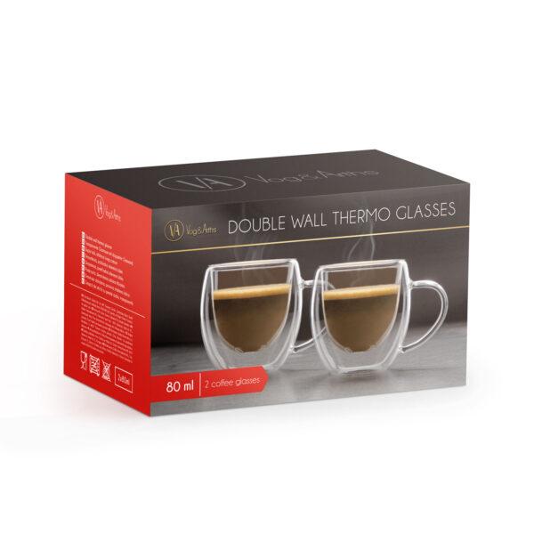 Dubbelwandige Espresso Kopjes Glazen met oor 80 ML Set van 2
