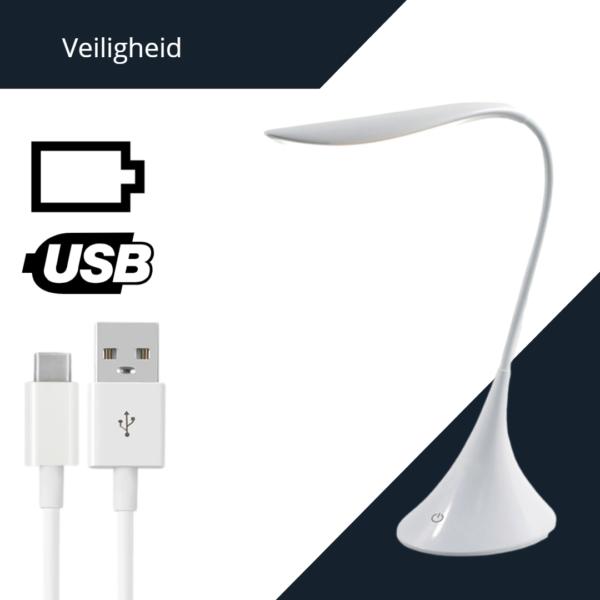 Bureaulamp USB of Batterijen Leeslamp