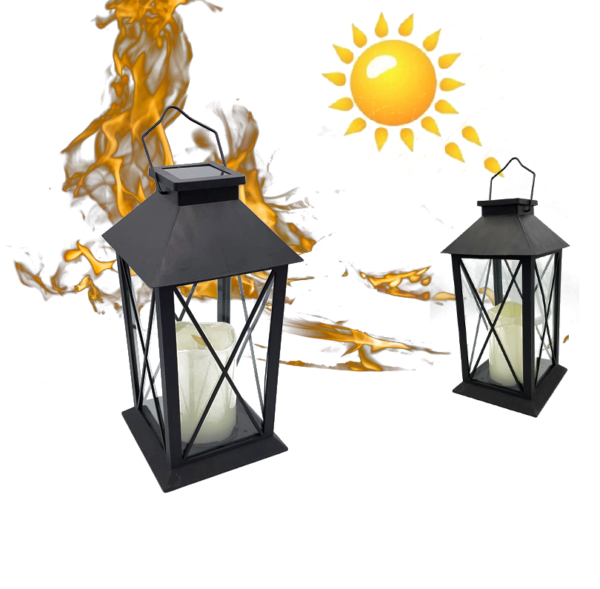 Landelijke tuinlantaarn Solar LED op Zonne Energie Zwart