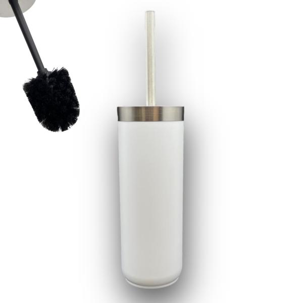 Toiletborstel RVS en Wit kunstof Zwarte Borstelkop Toiletborstel