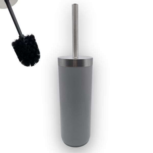 Toiletborstel RVS en grijs kunstof Zwarte Borstelkop Toiletborstel