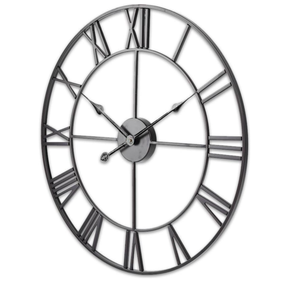 Moderne Industriële Wandklok van Metaal Zwart met Stil uurwerk 60cm