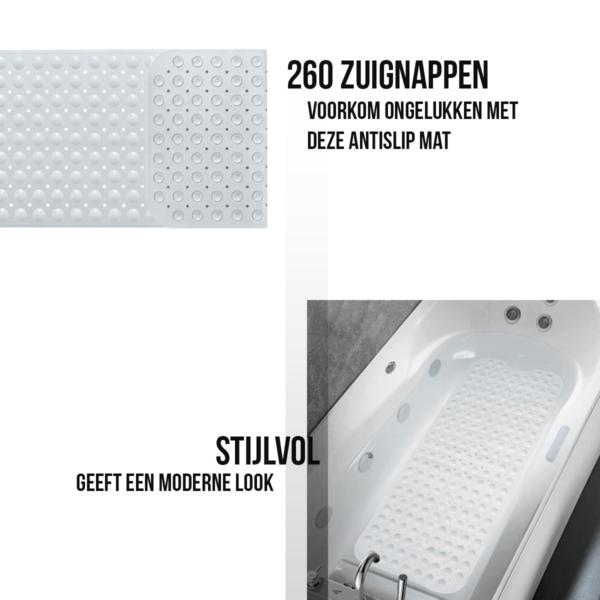 Badmat Antislip Wit 100x40 met zuignappen