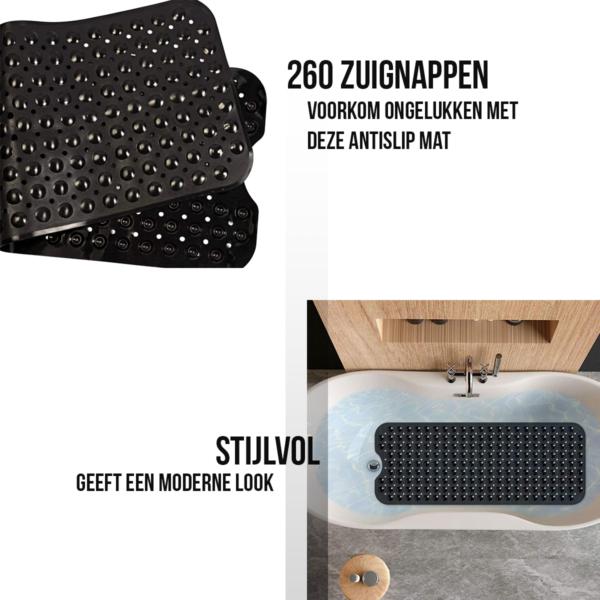 Badmat Antislip Zwart 100x40 met zuignappen